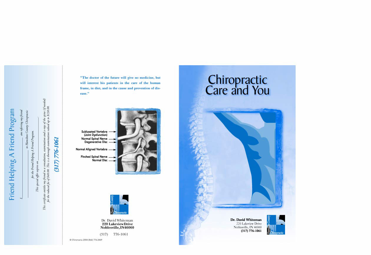 day 1 booklet chiropractic care  u0026 you  u2013 chiromania