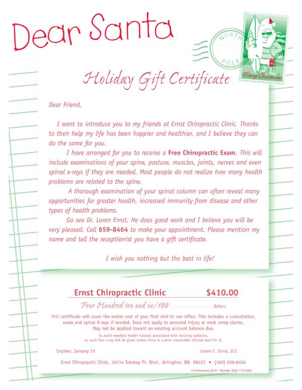 Dear Santa Certificate