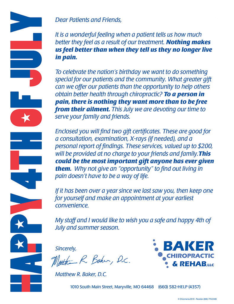 July 4 Fireworks Letter