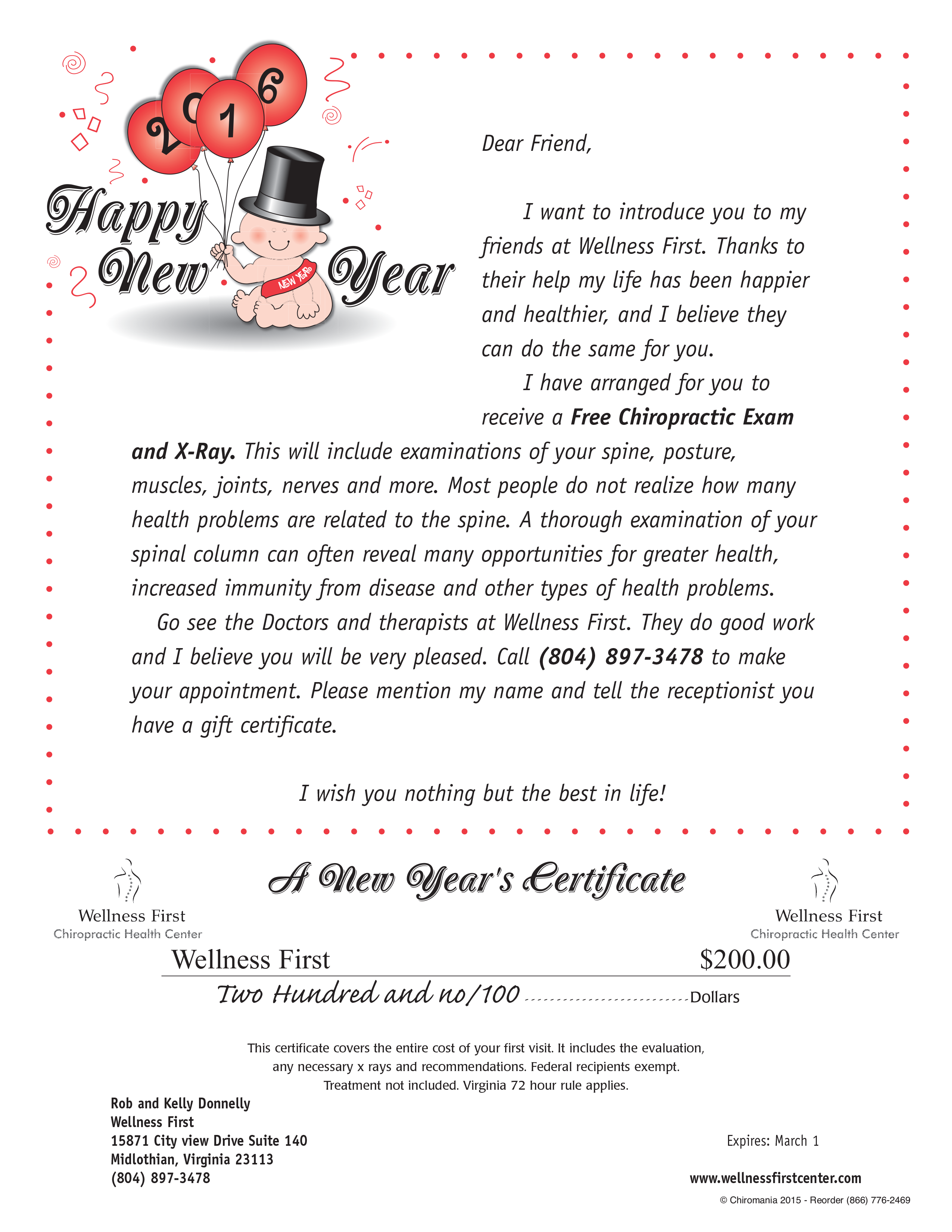 New year theme gift certificates chiromania ny baby certificate xflitez Gallery